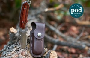 The Buck 277 Folding Alpha Hunter Knife With Rosewood Handle and Leather Sheath